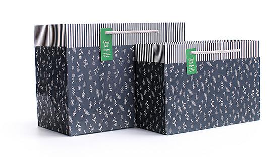 条纹个性化妆品白卡纸袋定制