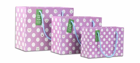 紫色圆点高档礼品白卡纸袋定制