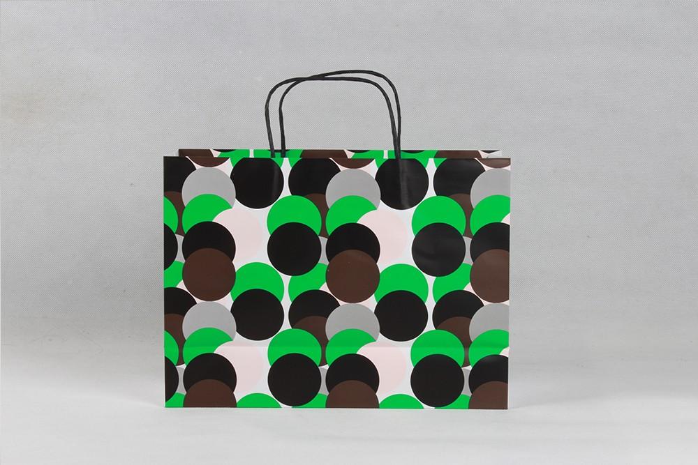 绿色圆圈创意型铜版纸袋