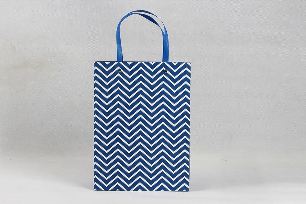 高档蓝色条纹白卡纸袋